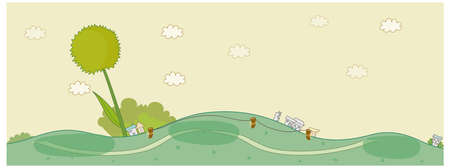 curved path: This illustration is a common cityscape. Houses on green landscape Illustration