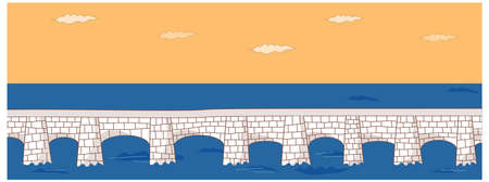 This illustration is a common cityscape. Bridge over river Vector