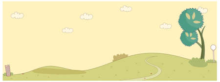 curved path: This illustration is a common cityscape. Curved path over a green landscape Illustration