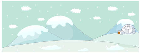 This illustration is a common cityscape. Igloo on a winter landscape Vector