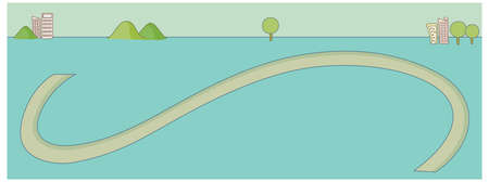 curved path: This illustration is a common cityscape. Curved path towards city