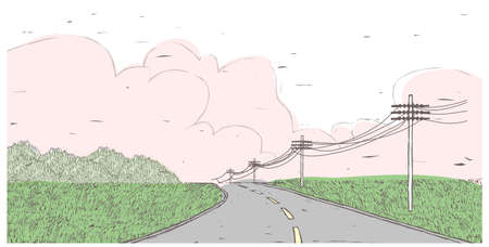telephone pole: This illustration is a common cityscape. Barren Highway