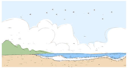 This illustration is a common cityscape. Beach Vector