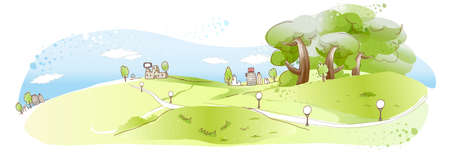 curved path: This illustration is a common natural landscape. Rural scene