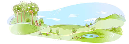 This illustration is a common natural landscape. Rural scene with pond Stock Vector - 15947003