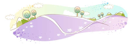 rolling landscape: This illustration is a common natural landscape. Rolling Landscape