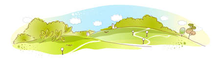 This illustration is a common natural landscape. Rural scene Stock Vector - 15910440