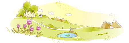 This illustration is a common natural landscape. Rural scene with pond Stock Vector - 15946717