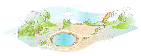 This illustration is a common natural landscape. park with pool Stock Vector - 15946907
