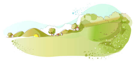 This illustration is a common natural landscape. Rural scene Vector