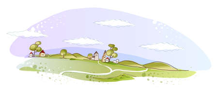 This illustration is a common natural landscape. Rural scene