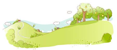 range fruit: This illustration is a common natural landscape. Rural scene