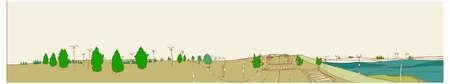 passage clout�: Cette illustration est un paysage urbain commun. route et passage pour pi�tons Illustration
