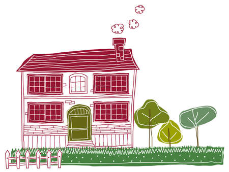 This illustration is a common cityscape. Bungalow Exterior Stock Vector - 15903368