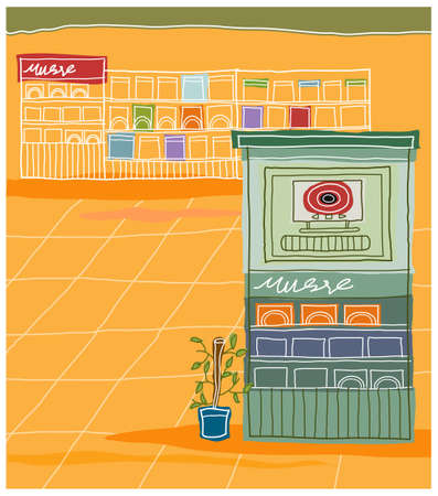 This illustration is a common cityscape. Record shop interior Vector