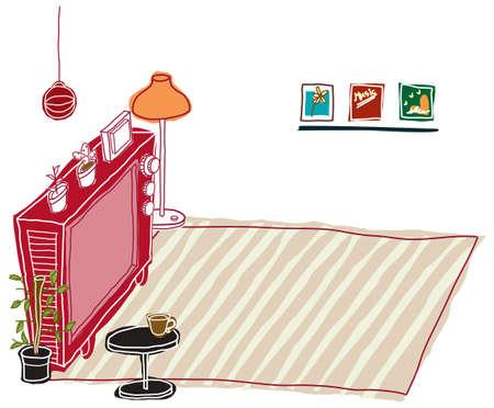 set de television: Esta ilustraci�n es un paisaje urbano com�n. viejo televisor Vectores
