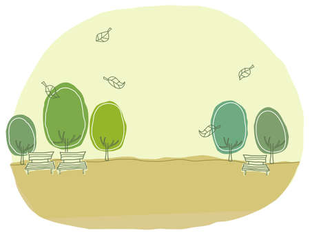 This illustration is a common cityscape. Bench at Park Vector