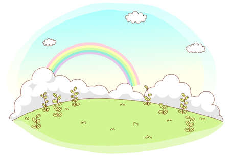 This illustration is a common cityscape. Green Landscape with rainbow Stock Vector - 15903166