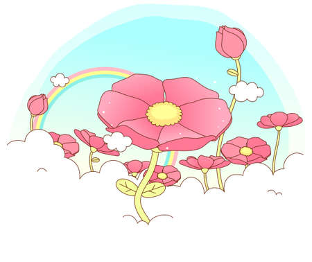 This illustration is a common cityscape. Flowers blossom Vector