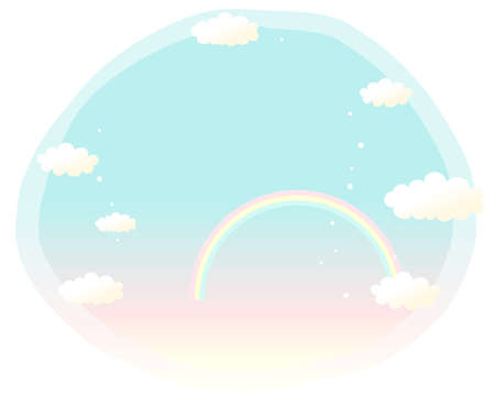 This illustration is a common cityscape. Sky And Rainbow Vector