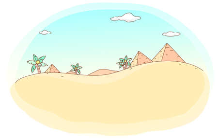 This illustration is a common cityscape. Desert and pyramid Vector