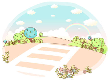 This illustration is a common natural landscape. Rolling Landscape with crosswalk Vector