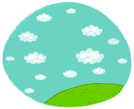 This illustration is a common natural landscape. Green landscape with blue sky Stock Vector - 15947663