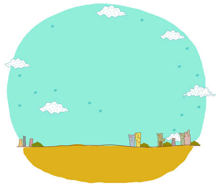 This illustration is a common natural landscape. City skyline Stock Vector - 15903625