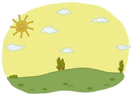 This illustration is a common natural landscape. green landscape and sky Stock Vector - 15903396