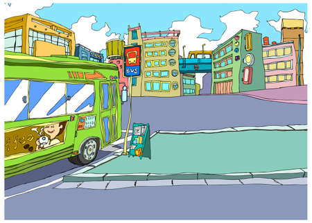 This illustration is a common natural landscape. Bus Stand in city Stock Vector - 15946310