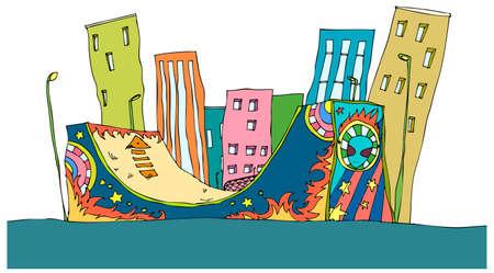 skateboard park: Esta ilustraci�n es un paisaje urbano com�n. Rampa y exterior del edificio
