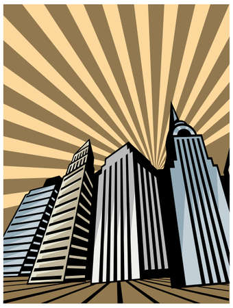 This illustration is a common cityscape. City skyline with flyover Stock Vector - 15903296
