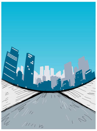 This illustration is a common cityscape. City skyline with flyover Stock Vector - 15903593