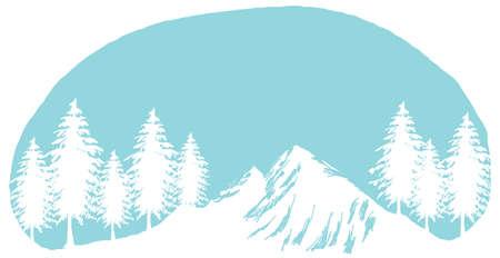 snow mountain peak: This illustration is a common cityscape. snow mountain peak and tree Illustration