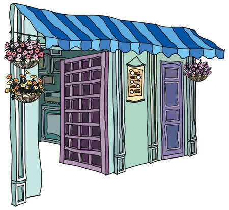 This illustration is a common cityscape. store exterior Vector