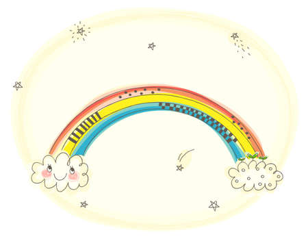 This illustration is a common natural landscape. rainbow in sky Stock Vector - 15946153