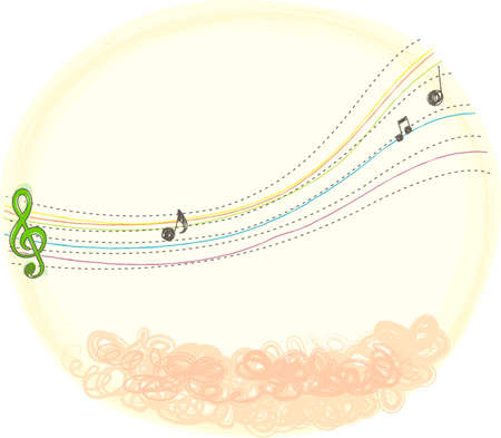 This illustration is a common natural landscape. Music note  Stock Vector - 15946864