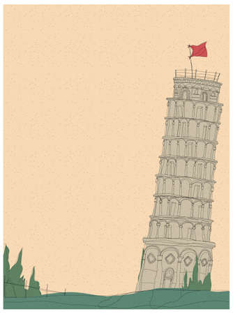 This illustration is a common cityscape. Pisa Tower Vector