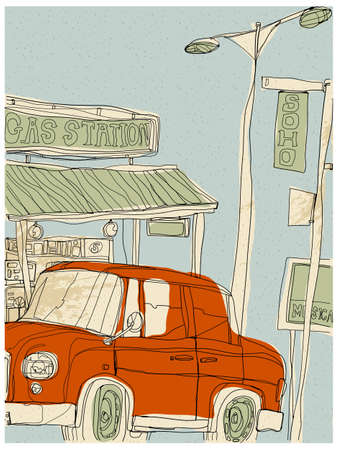 western script: This illustration is a common cityscape. Gas Station