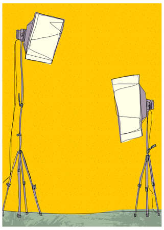 This illustration is a common cityscape. Empty photographic studio Vector