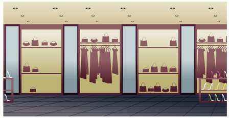 clothing shop: This illustration is a common cityscape. store interior