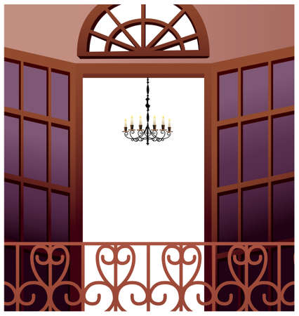 This illustration is a common cityscape. chandelier hanging in front of open balcony Stock Vector - 15945908
