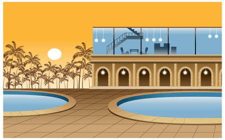 This illustration is a common cityscape. Hotel exterior Vector