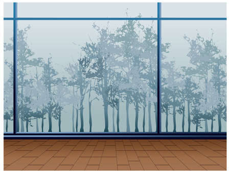 This illustration is a common cityscape. Trees through window Stock Vector - 15947178
