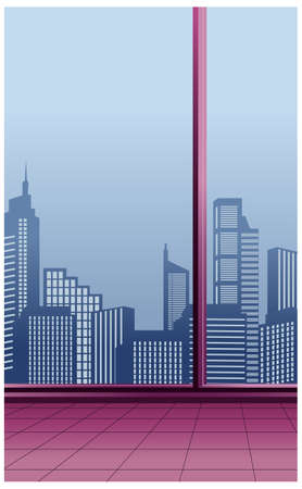 This illustration is a common cityscape. Skyline through Window Stock Vector - 15945890