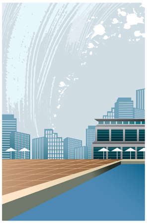 This illustration is a common cityscape. Pool near Hotel Stock Vector - 15947014