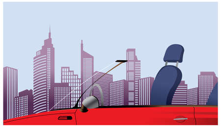 This illustration is a common cityscape. Close-up of car in front of city skyline Vector