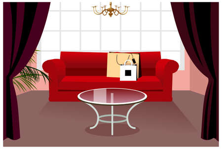 This illustration is a common cityscape. shopping bag on sofa Vector
