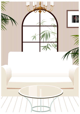 This illustration is a common cityscape. Living room interior Vector