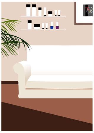 salon beaut�: Cette illustration est un paysage urbain commun. int�rieur salon de beaut� Illustration